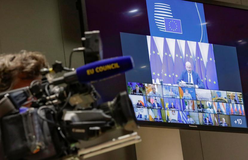 Obrady Rady Europejskiej w trybie zdalnym mają status nieformalny i nie przyjmują jednomyślnych konkluzji.   Fot. Pool / Reuters / Forum