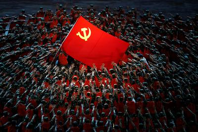 Obchody stulecia Komunistycznej Partii Chin. Pokaz na Stadionie Narodowym w Pekinie. 28 czerwca 2021 r.