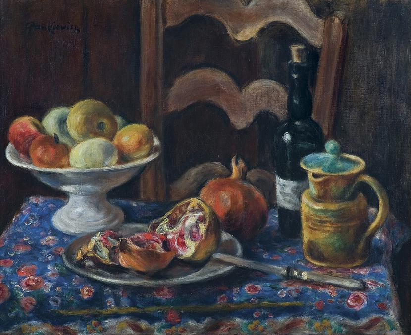 """Józef Pankiewicz, """"Martwa natura z owocami, dzbankiem, butelką oraz krzesłem"""", 1926 r.:"""